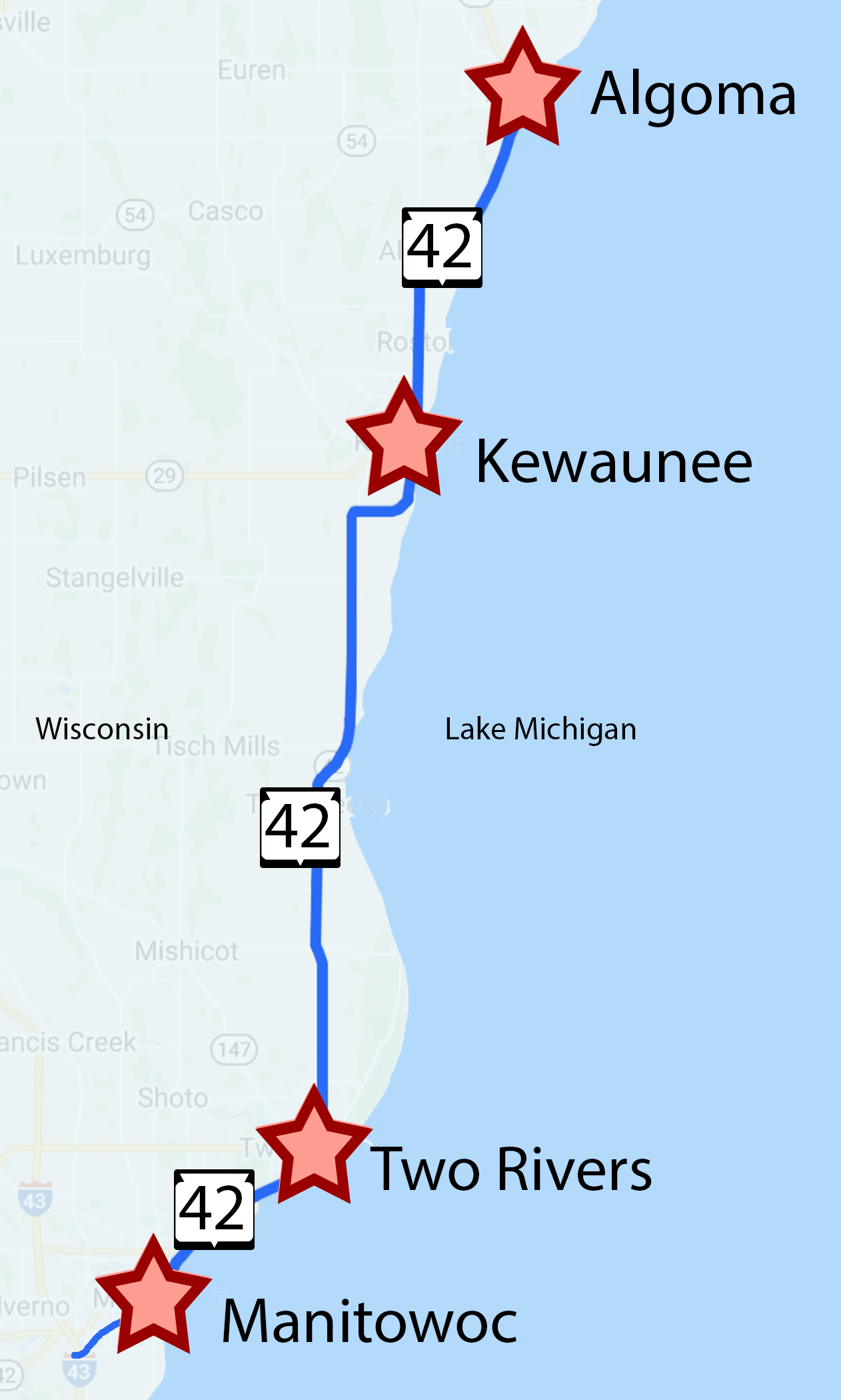 Travel Highway 42 along the Lake Michigan shoreline